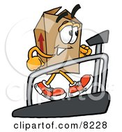 Clipart Picture Of A Cardboard Box Mascot Cartoon Character Walking On A Treadmill In A Fitness Gym by Toons4Biz