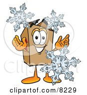 Clipart Picture Of A Cardboard Box Mascot Cartoon Character With Three Snowflakes In Winter