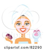 Royalty Free RF Clipart Illustration Of A Spa Woman Applying A Pink Mask To Her Face