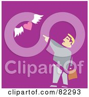 Royalty Free RF Clipart Illustration Of A Businessman Pointing To A Flying Heart On Purple by xunantunich