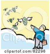 Royalty Free RF Clipart Illustration Of A Businessman Standing On Clouds And Pointing At Flying Dollars by xunantunich