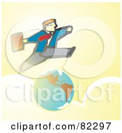 Royalty Free RF Clipart Illustration Of A Business Man Running A Leaping Over The Earth And Clouds