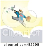 Royalty Free RF Clipart Illustration Of A Businessman Running On Clouds And Reaching For Flying Dollars