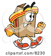 Clipart Picture Of A Cardboard Box Mascot Cartoon Character Speed Walking Or Jogging by Toons4Biz