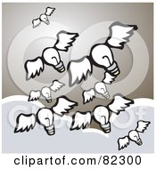 Royalty Free RF Clipart Illustration Of A Winged Light Bulbs Flying Above The Clouds In A Brown Sky