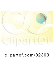 Royalty Free RF Clipart Illustration Of A Distant Earth In A Cloudy Yellow Sky by xunantunich