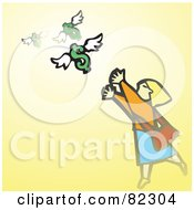 Royalty Free RF Clipart Illustration Of A Woman Reaching For Flying Dollars On Yellow