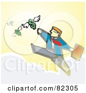 Royalty Free RF Clipart Illustration Of A Businessman Walking On Clouds And Reaching For Flying Dollars by xunantunich