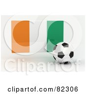 Royalty Free RF Clipart Illustration Of A 3d Soccer Ball In Front Of A Reflective Ivory Coast Flag