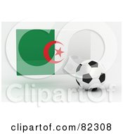 Royalty Free RF Clipart Illustration Of A 3d Soccer Ball In Front Of A Reflective Algeria Flag
