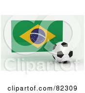 Royalty Free RF Clipart Illustration Of A 3d Soccer Ball In Front Of A Reflective Brazil Flag