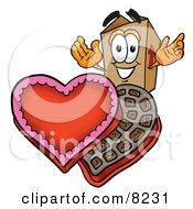 Clipart Picture Of A Cardboard Box Mascot Cartoon Character With An Open Box Of Valentines Day Chocolate Candies by Toons4Biz