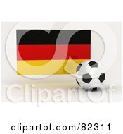Royalty Free RF Clipart Illustration Of A 3d Soccer Ball In Front Of A Reflective Germany Flag
