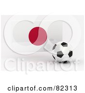 Royalty Free RF Clipart Illustration Of A 3d Soccer Ball In Front Of A Reflective Japan Flag