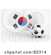 Royalty Free RF Clipart Illustration Of A 3d Soccer Ball In Front Of A Reflective South Korea Flag