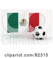 Royalty Free RF Clipart Illustration Of A 3d Soccer Ball In Front Of A Reflective Mexico Flag