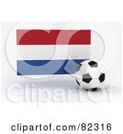Royalty Free RF Clipart Illustration Of A 3d Soccer Ball In Front Of A Reflective Netherlands Flag