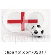 Royalty Free RF Clipart Illustration Of A 3d Soccer Ball In Front Of A Reflective England Flag