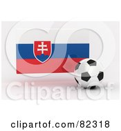 Royalty Free RF Clipart Illustration Of A 3d Soccer Ball In Front Of A Reflective Slovakia Flag
