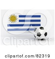 Royalty Free RF Clipart Illustration Of A 3d Soccer Ball In Front Of A Reflective Uruguay Flag