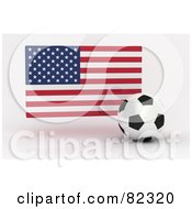 Royalty Free RF Clipart Illustration Of A 3d Soccer Ball In Front Of A Reflective USA Flag by stockillustrations