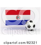 Royalty Free RF Clipart Illustration Of A 3d Soccer Ball In Front Of A Reflective Paraguay Flag