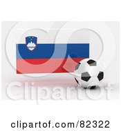 Royalty Free RF Clipart Illustration Of A 3d Soccer Ball In Front Of A Reflective Slovenia Flag
