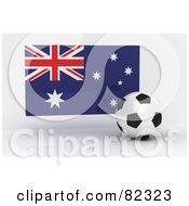 Royalty Free RF Clipart Illustration Of A 3d Soccer Ball In Front Of A Reflective Australia Flag