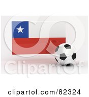 Royalty Free RF Clipart Illustration Of A 3d Soccer Ball In Front Of A Reflective Chile Flag