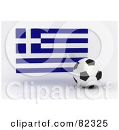 Royalty Free RF Clipart Illustration Of A 3d Soccer Ball In Front Of A Reflective Greece Flag
