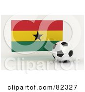 Royalty Free RF Clipart Illustration Of A 3d Soccer Ball In Front Of A Reflective Ghana Flag