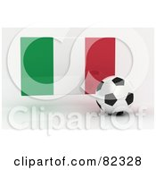 Royalty Free RF Clipart Illustration Of A 3d Soccer Ball In Front Of A Reflective Italy Flag