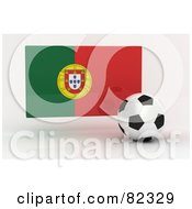 Royalty Free RF Clipart Illustration Of A 3d Soccer Ball In Front Of A Reflective Portugal Flag