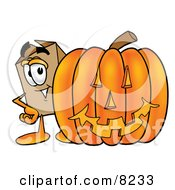 Clipart Picture Of A Cardboard Box Mascot Cartoon Character With A Carved Halloween Pumpkin