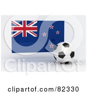 Royalty Free RF Clipart Illustration Of A 3d Soccer Ball In Front Of A Reflective New Zealand Flag