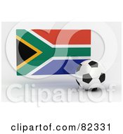 Royalty Free RF Clipart Illustration Of A 3d Soccer Ball In Front Of A Reflective South Africa Flag