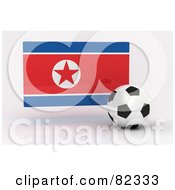 Royalty Free RF Clipart Illustration Of A 3d Soccer Ball In Front Of A Reflective Korea Flag