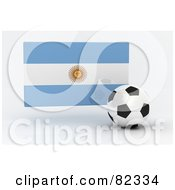Royalty Free RF Clipart Illustration Of A 3d Soccer Ball In Front Of A Reflective Argentina Flag