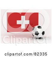 Royalty Free RF Clipart Illustration Of A 3d Soccer Ball In Front Of A Reflective Switzerland Flag