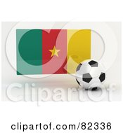Royalty Free RF Clipart Illustration Of A 3d Soccer Ball In Front Of A Reflective Cameroon Flag