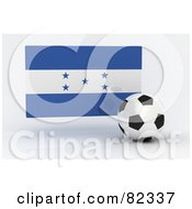 Royalty Free RF Clipart Illustration Of A 3d Soccer Ball In Front Of A Reflective Honduras Flag