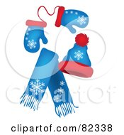 Royalty Free RF Clipart Illustration Of A Set Of Blue And Red Winter Mittens A Hat And Scarf With Snowflake Patterns by Pams Clipart