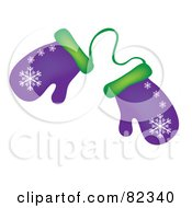 Royalty Free RF Clipart Illustration Of A Pair Of Purple And Green Winter Mittens With Snowflake Patterns