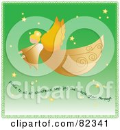 Royalty Free RF Clipart Illustration Of A Graceful Golden Angel Flying Through A Green Starry Sky With Text