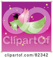 Royalty Free RF Clipart Illustration Of A Graceful African American Angel Flying Through A Purple Starry Sky With Text