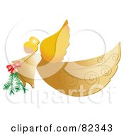 Royalty Free RF Clipart Illustration Of A Golden Christmas Flying Angel Carrying A Pine Bough