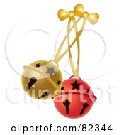 Red And Gold Jingle Bells With Bows And Ribbons