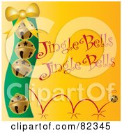 Golden Bouncing Christmas Bells With Jingle Bells Text On Yellow