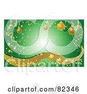 Green Glowing Christmas Background With Confetti Stars Sparkles Waves And Ornaments