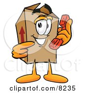 Clipart Picture Of A Cardboard Box Mascot Cartoon Character Holding A Telephone